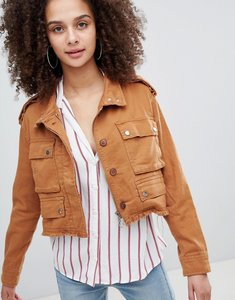 Read more about Bershka distressed cargo jacket - khaki