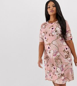 Read more about Pink clove t-shirt dress in luxe print