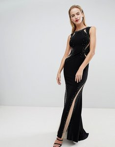 Read more about Forever unique dramatic panelled maxi dress - black