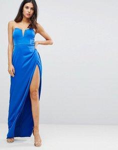 Read more about Asos bandeau maxi dress with deep plunge - cobalt