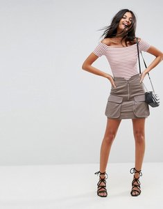 Read more about Asos mini skirt with zip and pockets - stone