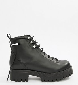 Read more about Asos design premium rivalry leather chunky lace up ankle boots - black leather