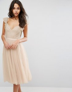Read more about Needle thread swan tulle midi dress with frill sleeve - petal pink