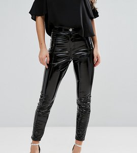 Read more about Asos petite rivington high waisted denim jegging in vinyl effect