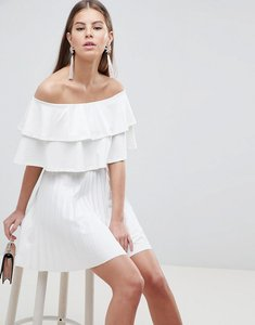 93d82a91dee3 Read more about Asos design scuba bardot double ruffle pleated mini dress -  ivory