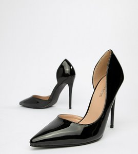Read more about Glamorous wide fit black d orsay court shoes - black patent