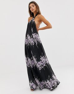 Read more about Asos design halter neck trapeze maxi dress in placed linear floral