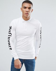 Read more about Asos extreme muscle long sleeve polo with sleeve print - white