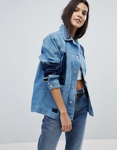 Read more about Uncivilised oversized patchwork denim workers jacket - mid indigo