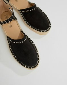 Read more about Truffle collection studded espadrille - black micro