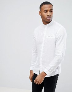 Read more about Celio long sleeve shirt with grandad collar in white - blanc