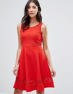 Read more about Traffic people skater dress with lace insert - red