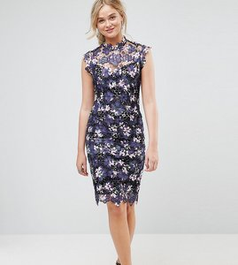 Read more about Paper dolls tall high neck floral crochet lace midi dress - plum