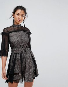 Read more about Keepsake slide lace mini dress with tie - black