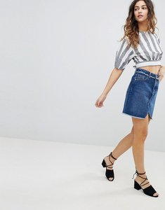 Read more about Miss selfridge fray waist denim skirt - blue