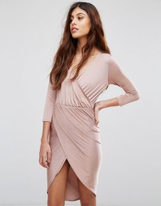 Read more about Be jealous slinky wrap front midi dress - pink