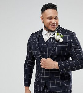 Read more about Asos plus wedding skinny suit jacket in navy windowpane check - navy