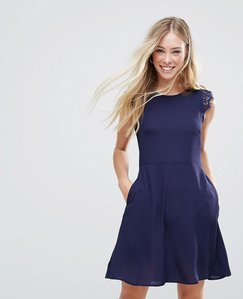 Read more about Qed london mini dress with lace shoulder detail - navy