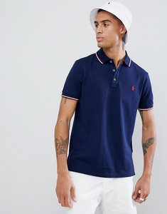 Read more about Polo ralph lauren slim fit tipped pique polo player logo in navy - cruise navy