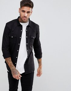 Read more about Asos skinny denim western shirt in black - black