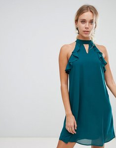 Read more about Glamorous frill detail dress - forest green
