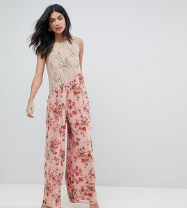 Read more about Asos tall jumpsuit in soft floral with lace bodice detail - pink