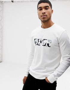 Read more about Hugo dicago-u crew neck sweat with reverse camo print logo in white - white