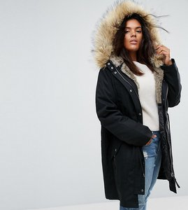 Read more about Asos curve parka with detachable faux fur liner - black