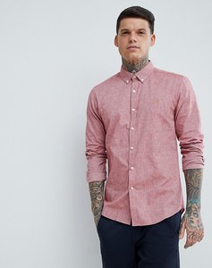 Read more about Farah steen slim fit textured oxford shirt in red - red