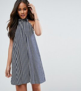 Read more about Asos tall halter neck swing sundress in stripe - navy
