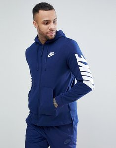Read more about Nike hybrid zip through hoodie with sleeve print in navy 885945-429 - navy
