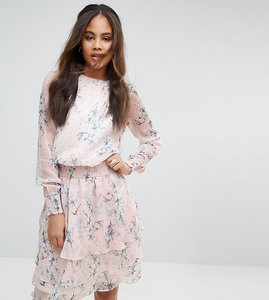 Read more about Y a s tall glaze allover printed layered skater dress - multi