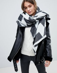 Read more about French connection houndstooth oversized scarf - black white