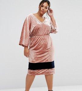 Read more about Asos curve premium velvet contrast midi dress with kimono sleeve - pink