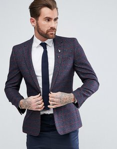 Read more about Asos skinny blazer in wool mix navy windowpane check - navy