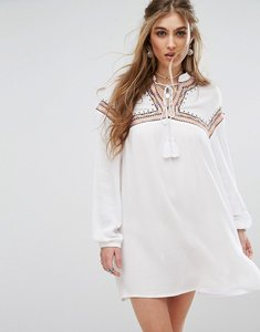 Read more about Missguided embroidered tie front smock dress - white