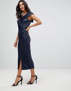 Read more about Lavish alice one sleeve midi sequin dress with wrap front - navy