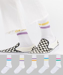 Read more about Asos sports style socks in summer weight with 2 colour stripes 5 pack - white