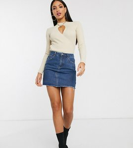 Read more about Missguided tall a-line denim mini skirt in blue - mid blue