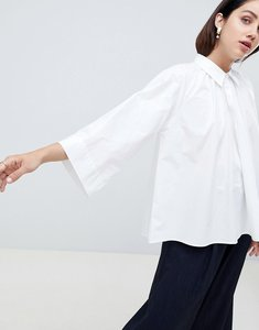Read more about Asos white blouse with gather neck detail - white