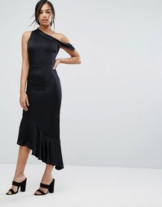 Read more about Lavish alice satin one shoulder asymmetric hem dress - black