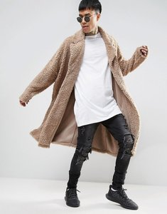 Read more about Asos extreme oversized borg duster coat in beige - tawny