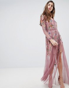 Read more about French connection sheer embroidered maxi dress - rose
