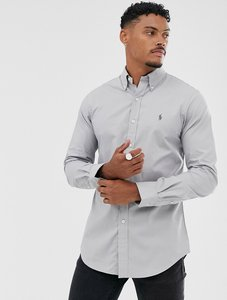 Read more about Polo ralph lauren slim fit stretch poplin button down shirt in light grey with player logo