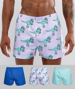 Read more about Asos woven boxer with dinosaur print 3 pack save - multi