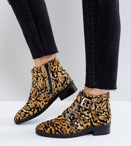 Read more about Asos asher leather studded ankle boots - leopard pony
