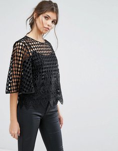 Read more about Forever unique cami with grid overlay - black