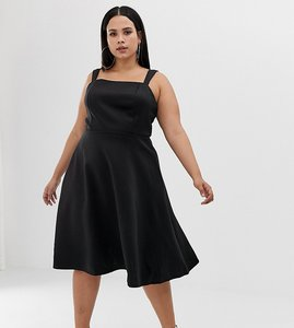 Read more about Asos design curve square neck prom dress - black