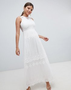 Read more about Missguided embroidered mesh maxi dress - cream
