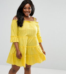 Read more about Asos curve tiered cold shoulder smock sundress - yellow